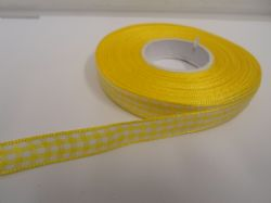 Canary bright Yellow 2 metres or full roll x 10mm Gingham Ribbon Double Sided check UK